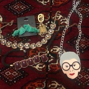 Necklaces, pin, earrings